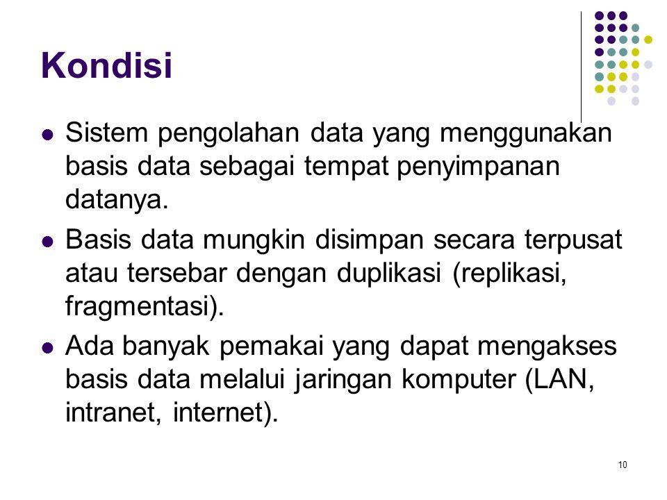 Kondisi Sistem pengolahan data yang menggunakan basis data sebagai tempat penyimpanan datanya.
