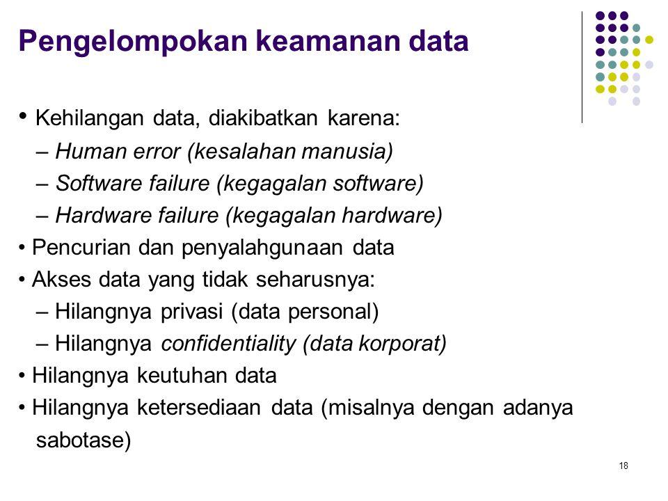 Pengelompokan keamanan data Kehilangan data, diakibatkan karena: – Human error (kesalahan manusia) – Software failure (kegagalan software) – Hardware failure (kegagalan hardware) Pencurian dan penyalahgunaan data Akses data yang tidak seharusnya: – Hilangnya privasi (data personal) – Hilangnya confidentiality (data korporat) Hilangnya keutuhan data Hilangnya ketersediaan data (misalnya dengan adanya sabotase) 18
