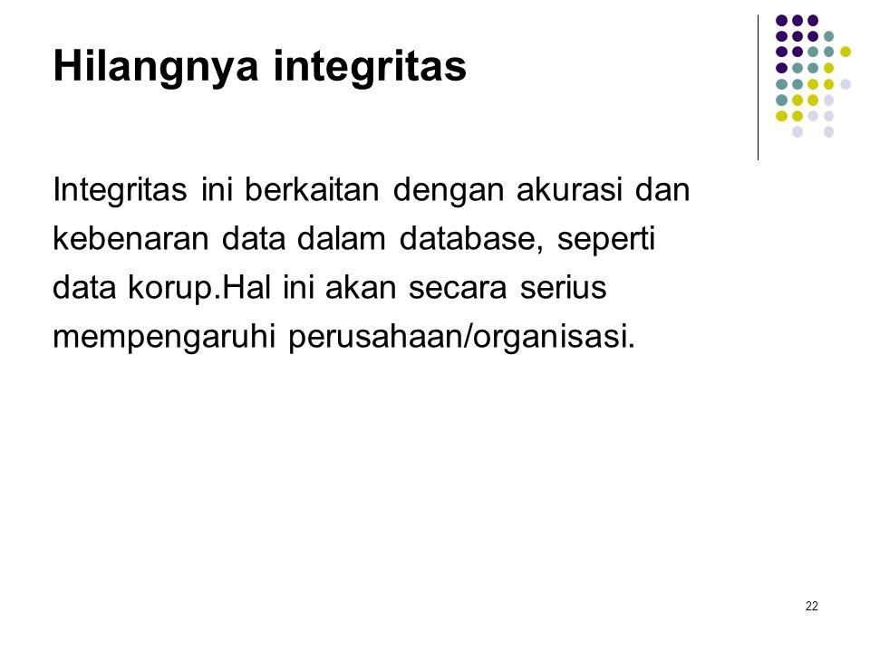 Hilangnya integritas Integritas ini berkaitan dengan akurasi dan kebenaran data dalam database, seperti data korup.Hal ini akan secara serius mempengaruhi perusahaan/organisasi.
