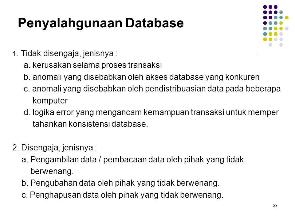 Penyalahgunaan Database 1.Tidak disengaja, jenisnya : a.