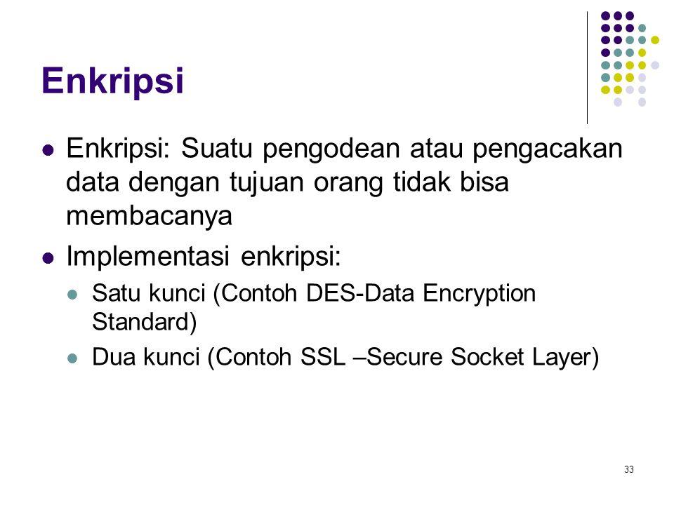 Enkripsi Enkripsi: Suatu pengodean atau pengacakan data dengan tujuan orang tidak bisa membacanya Implementasi enkripsi: Satu kunci (Contoh DES-Data Encryption Standard) Dua kunci (Contoh SSL –Secure Socket Layer) 33