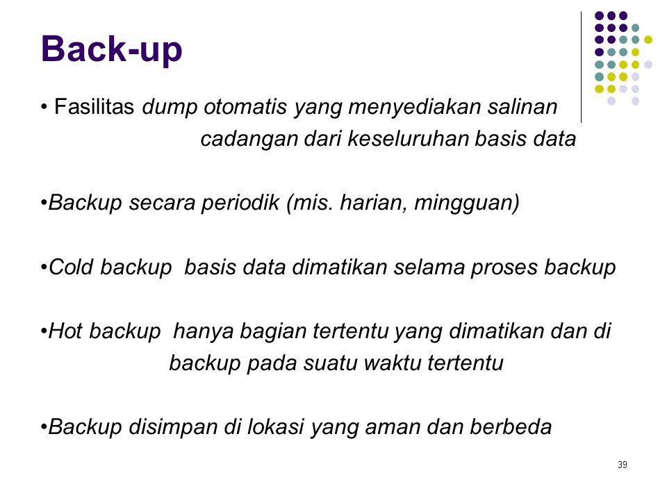 Back-up Fasilitas dump otomatis yang menyediakan salinan cadangan dari keseluruhan basis data Backup secara periodik (mis.