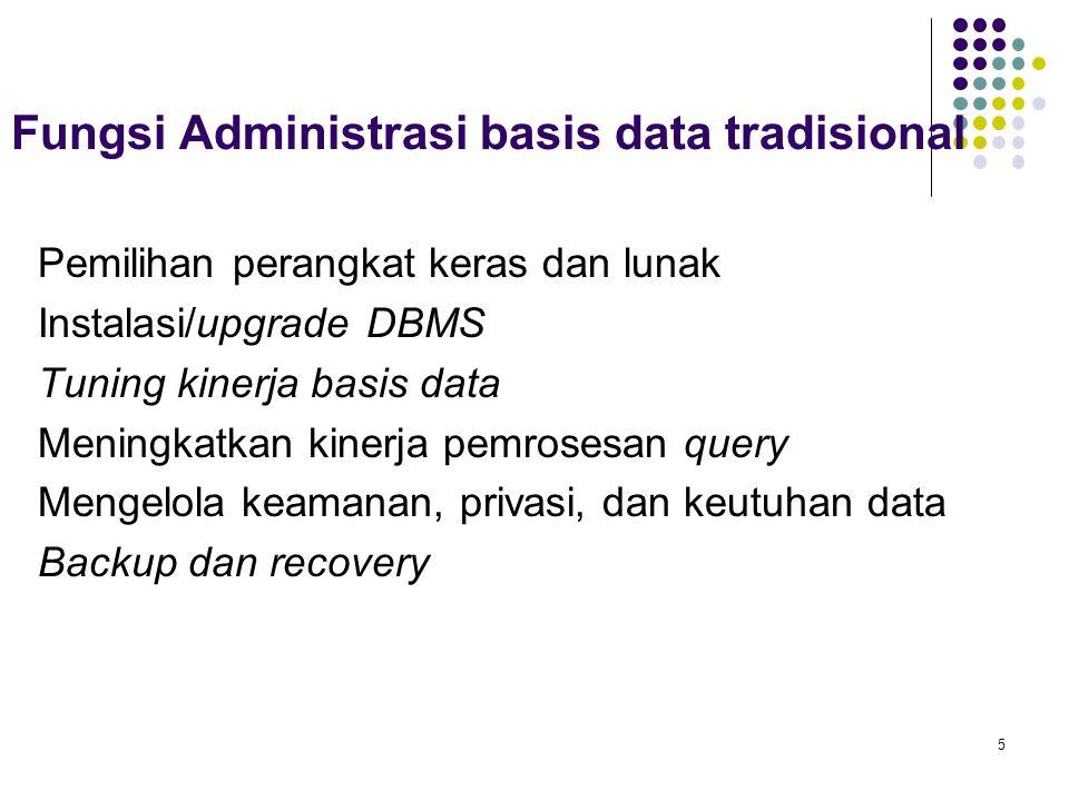 Fungsi Administrasi basis data tradisional Pemilihan perangkat keras dan lunak Instalasi/upgrade DBMS Tuning kinerja basis data Meningkatkan kinerja pemrosesan query Mengelola keamanan, privasi, dan keutuhan data Backup dan recovery 5