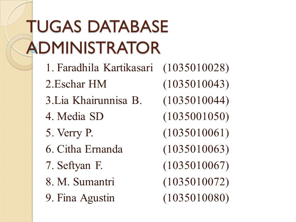 TUGAS DATABASE ADMINISTRATOR 1. Faradhila Kartikasari(1035010028) 2.Eschar HM(1035010043) 3.Lia Khairunnisa B. (1035010044) 4. Media SD (1035001050) 5