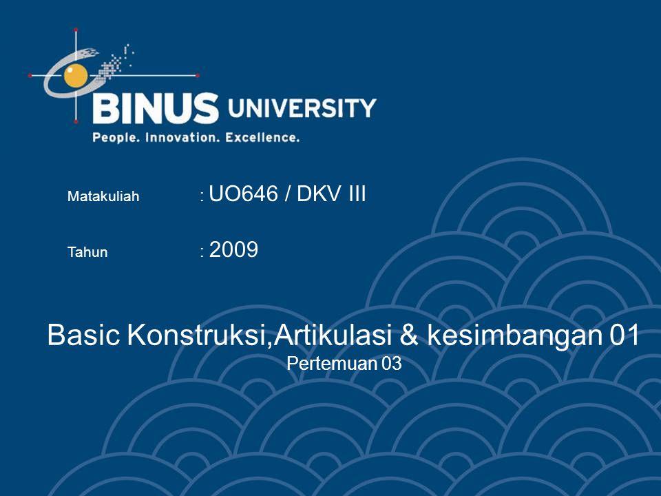 Basic Konstruksi,Artikulasi & kesimbangan 01 Pertemuan 03 Matakuliah : UO646 / DKV III Tahun : 2009