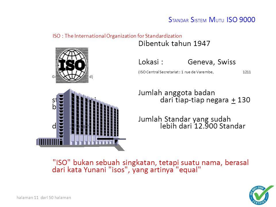 halaman 10 dari 50 halaman ILUSTRASI ISO 9001 STANDAR MUTU PRODUK TERTENTU ISO 9001 PERBAIKAN BERKELANJUTAN D AC P D AC P S TANDAR S ISTEM M UTU ISO 9000 KELAS DUNIA