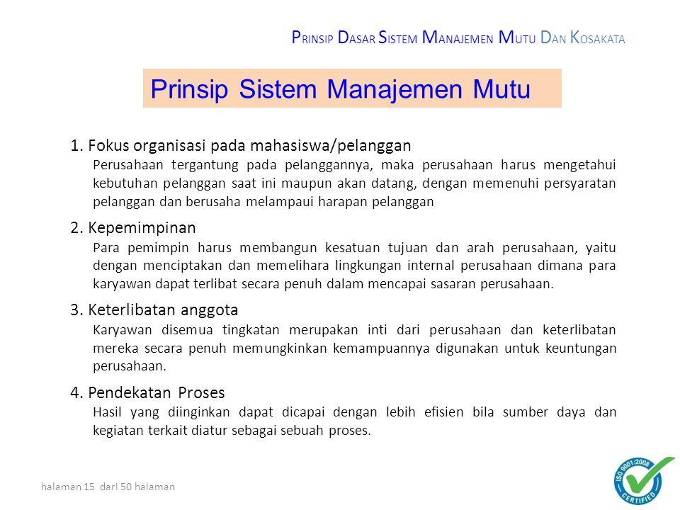 halaman 14 dari 50 halaman 1)Fokus Organisasi pada pelanggan ( Ps : 1; 5.1s/d 5.6 ; 6.1,6.2 ; 7.1 s/d 7.5 ; 8.1 s/d 8.5 ) 2)Kepemimpinan ( Ps : 4.1,4.2 ; 5.1 s/d 5.6 ; 6.1,6.3,6.4 ; 7.1 s/d 7.6 ; 8.1,8.5 ) 3)Keterlibatan anggota ( Ps : 4.1,4.2 ; 5.3 s/d 5.5 ; 6.4 ; 7.1 s/d 7.6 ; 8.2,8.5 ) 4)Pendekatan proses ( Ps : 4.1,4.2 ; 5.4,5.6 ; 6.1 s/d 6.4 ; 7.1 s/d 7.5 ; 8.1 s/d 8.5 ) 5)Pendekatan sistem pada manajemen ( Ps : 1 ; 4.1,4.2 ; 5.1 s/d 5.6 ; 6.1 s/d 6.4 ; 7.1 s/d 7.6 ; 8.1 s/d 8.5 ) 6)Perbaikan/penyempurnaan berlanjut ( Ps : 4.1,4.2 ; 5.1 s/d 5.6 ; 6.1,6.2 ; 8.1,8.2,8.4,8.5 ) 7)Pendekatan fakta untuk pengambilan keputusan ( Ps : 4.1 ; 5.4 s/d 5.6 ; 7.1 s/d 7.6 ; 8.1 s/d 8.5 ) 8)Hubungan yang saling menguntungkan dengan supplier ( Ps : 4.1 ; 5.4,5.6 ; 6.1 ; 7.1,7.2,7.4,7.5,7.6 ; 8.1, 8.2,8.4,8.5 ) Delapan prinsip manajemen mutu ini yang mendasari Standar Sistem Manajemen Mutu ISO 9001 : 2008 P RINSIP D ASAR S ISTEM M ANAJEMEN M UTU D AN K OSAKATA 8 prinsip Manajemen Mutu