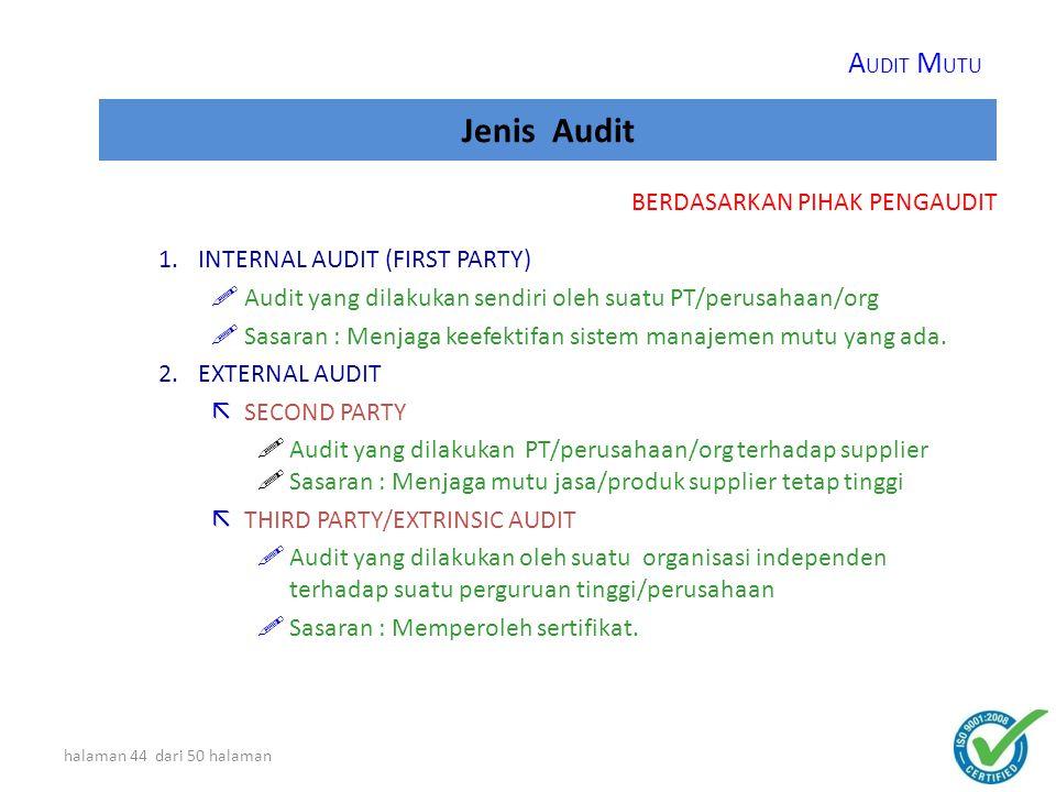 halaman 43 dari 50 halaman Jenis Audit 1.AUDIT KELAYAKAN/ADEQUACY AUDIT (Dokumen vs Standar)  Kesesuaian dokumen dengan persyaratan dalam standar  Tujuan: Melihat kesesuaian dokumen dengan standar 2.AUDIT KESESUAIAN/COMPLIANCE AUDIT (Pelaksanaan vs Dokumen)  Kesesuaian kegiatan/aktivitas dengan ketentuan/spesifikasi  Tujuan: Melihat kesesuaian kegiatan dengan ketentuan yang dibuat BERDASARKAN PEMBANDING A UDIT M UTU