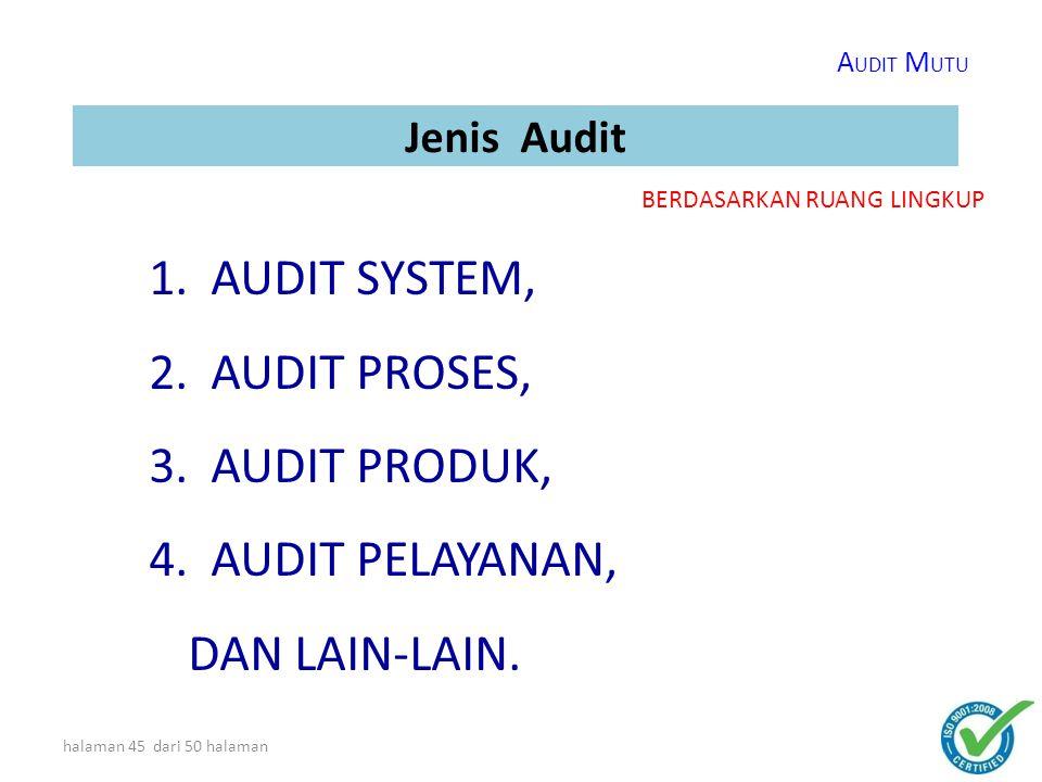 halaman 44 dari 50 halaman Jenis Audit 1.INTERNAL AUDIT (FIRST PARTY)  Audit yang dilakukan sendiri oleh suatu PT/perusahaan/org  Sasaran : Menjaga keefektifan sistem manajemen mutu yang ada.