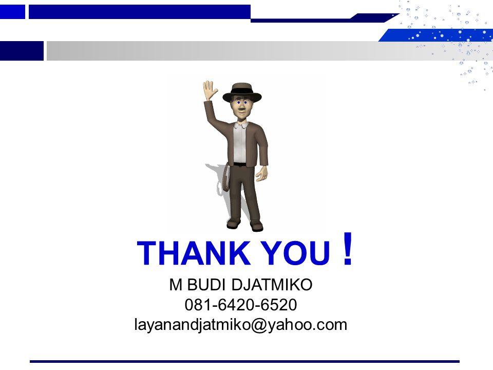 Disampaikan Oleh : M Budi Djatmiko Email : layanandjatmiko@yahoo.com HP: 081-6420-6520 54M Budi Djatmiko