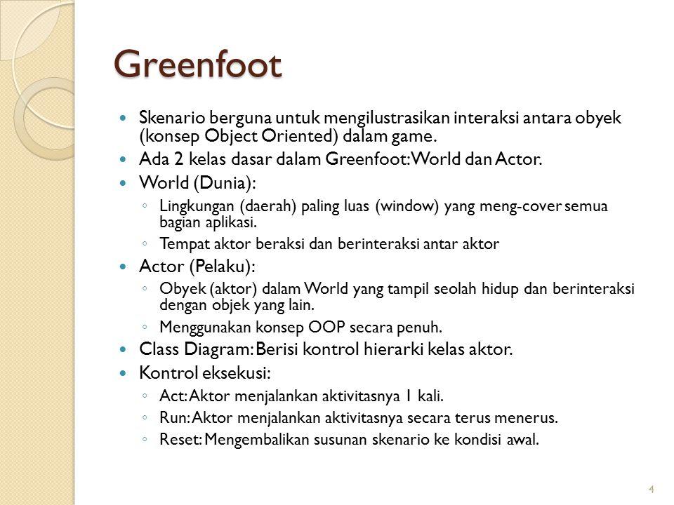 Greenfoot Skenario berguna untuk mengilustrasikan interaksi antara obyek (konsep Object Oriented) dalam game. Ada 2 kelas dasar dalam Greenfoot: World