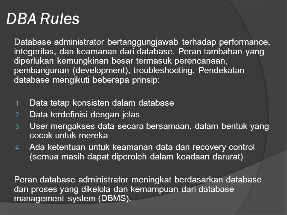 DBA Rules Database administrator bertanggungjawab terhadap performance, integeritas, dan keamanan dari database.