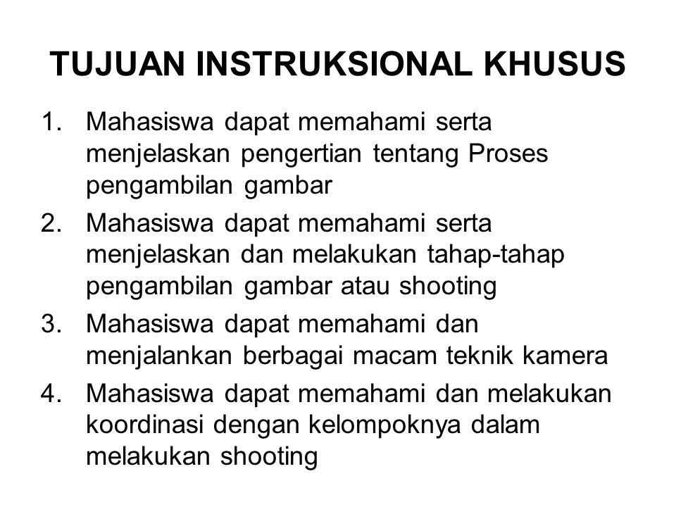 TUJUAN INSTRUKSIONAL KHUSUS 1.Mahasiswa dapat memahami serta menjelaskan pengertian tentang Proses pengambilan gambar 2.Mahasiswa dapat memahami serta