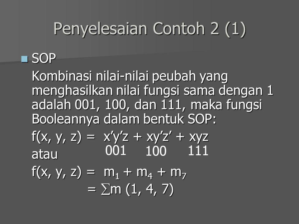 Penyelesaian Contoh 2 (1) SOP SOP Kombinasi nilai-nilai peubah yang menghasilkan nilai fungsi sama dengan 1 adalah 001, 100, dan 111, maka fungsi Bool