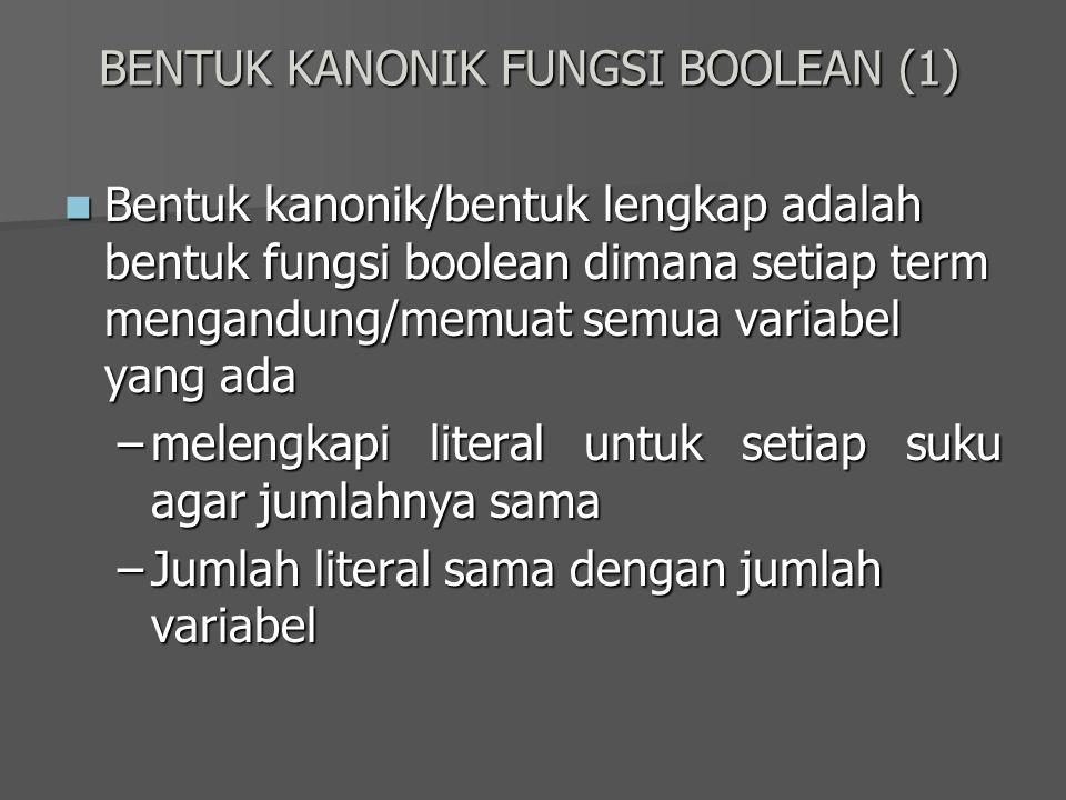 BENTUK KANONIK FUNGSI BOOLEAN (1) Bentuk kanonik/bentuk lengkap adalah bentuk fungsi boolean dimana setiap term mengandung/memuat semua variabel yang
