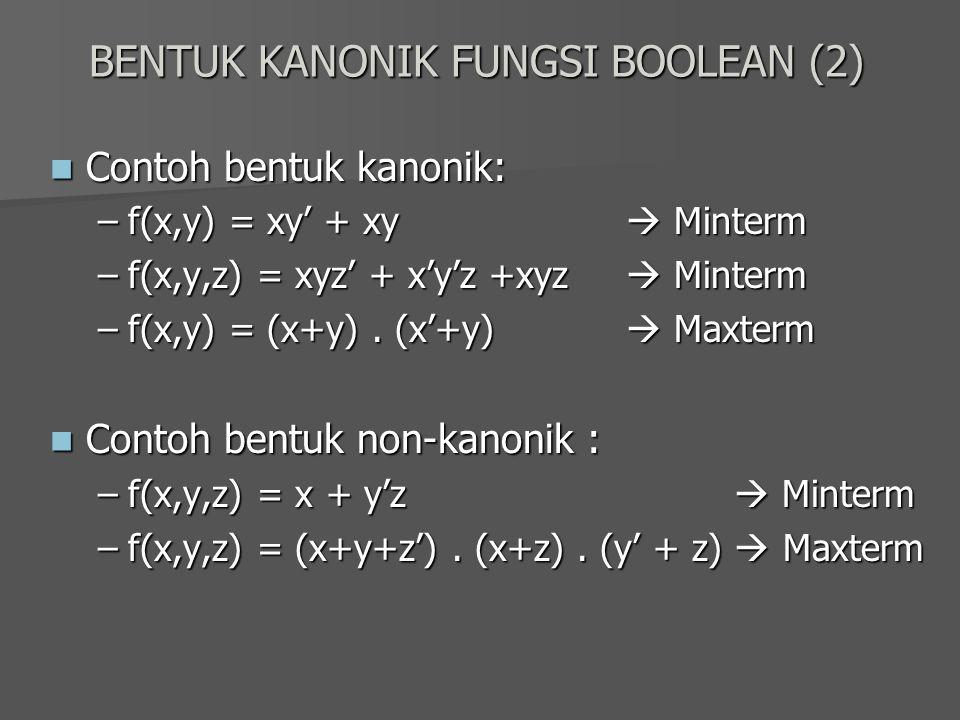 BENTUK KANONIK FUNGSI BOOLEAN (2) Contoh bentuk kanonik: Contoh bentuk kanonik: –f(x,y) = xy' + xy  Minterm –f(x,y,z) = xyz' + x'y'z +xyz  Minterm –
