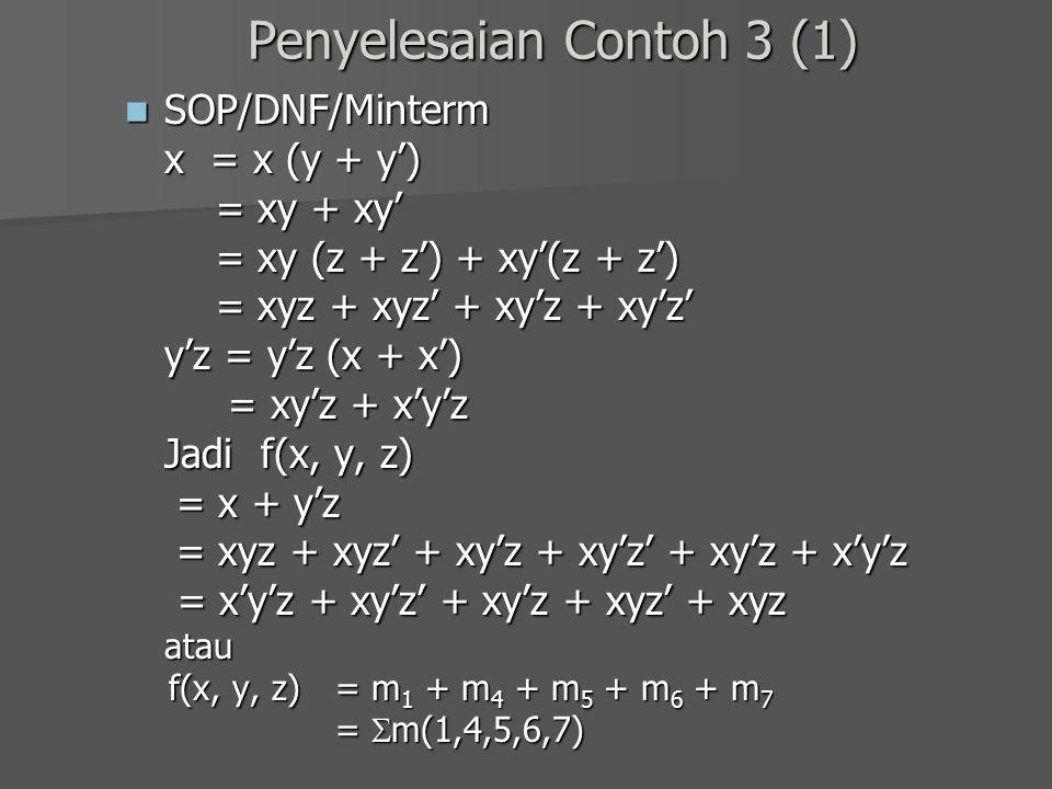 Penyelesaian Contoh 3 (1) SOP/DNF/Minterm SOP/DNF/Minterm x = x (y + y') = xy + xy' = xy + xy' = xy (z + z') + xy'(z + z') = xy (z + z') + xy'(z + z')