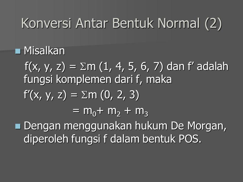 Konversi Antar Bentuk Normal (2) Misalkan Misalkan f(x, y, z) =  m (1, 4, 5, 6, 7) dan f' adalah fungsi komplemen dari f, maka f(x, y, z) =  m (1, 4