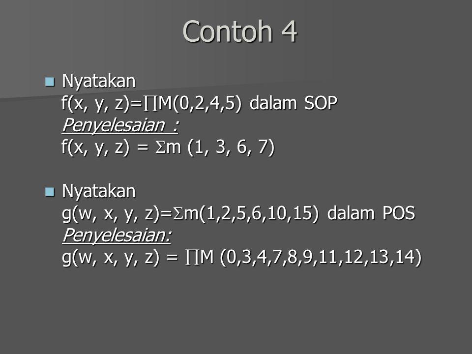 Contoh 4 Nyatakan Nyatakan f(x, y, z)=  M(0,2,4,5) dalam SOP f(x, y, z)=  M(0,2,4,5) dalam SOP Penyelesaian : Penyelesaian : f(x, y, z) =  m (1, 3,