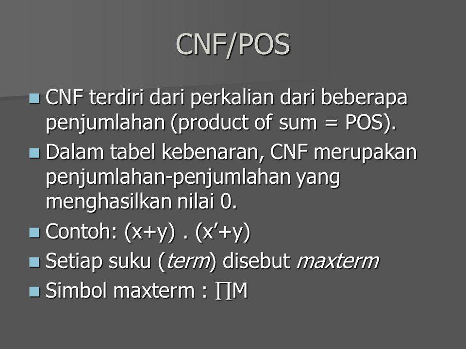 CNF/POS CNF terdiri dari perkalian dari beberapa penjumlahan (product of sum = POS). CNF terdiri dari perkalian dari beberapa penjumlahan (product of