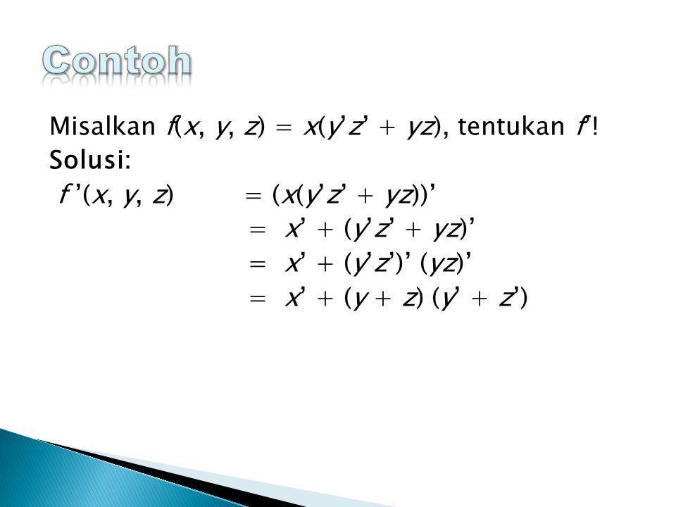 Misalkan f(x, y, z) = x(y'z' + yz), tentukan f'.