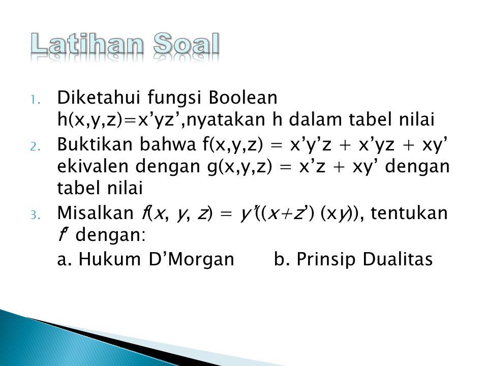 1.Diketahui fungsi Boolean h(x,y,z)=x'yz',nyatakan h dalam tabel nilai 2.