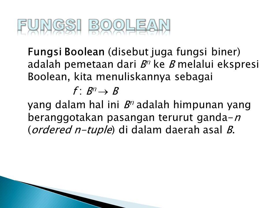  Setiap ekspresi Boolean tidak lain merupakan fungsi Boolean.