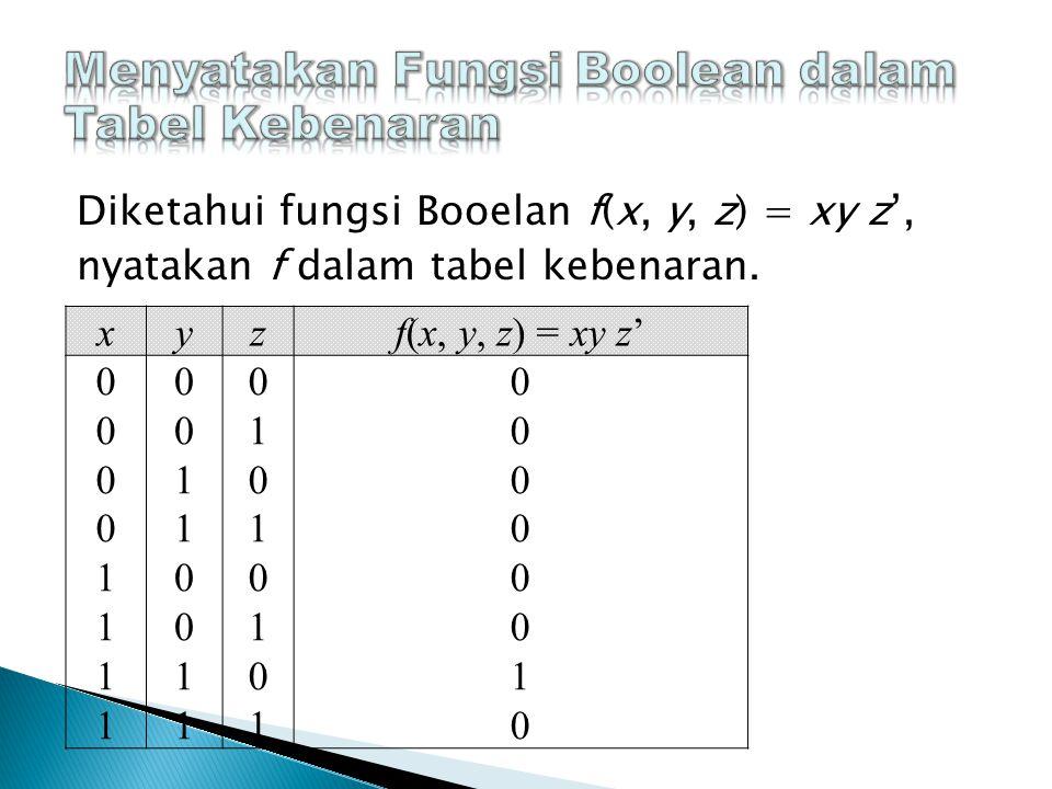 Diketahui fungsi Booelan f(x, y, z) = xy z', nyatakan f dalam tabel kebenaran.