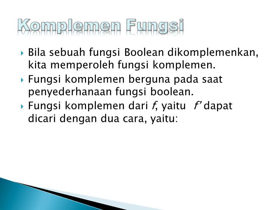  Bila sebuah fungsi Boolean dikomplemenkan, kita memperoleh fungsi komplemen.
