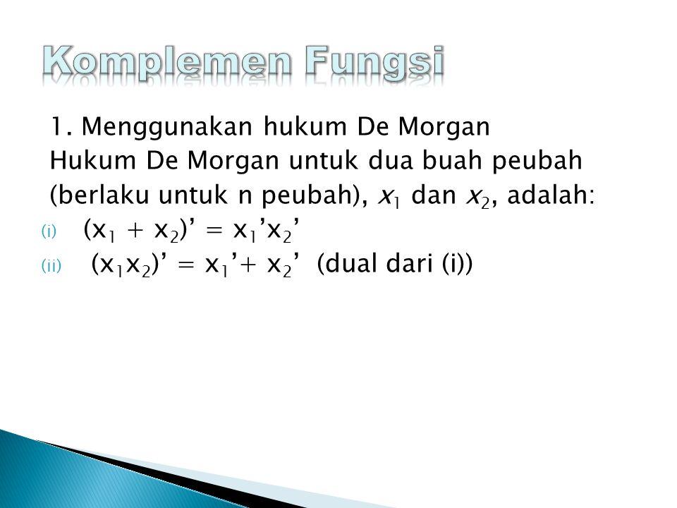 1. Menggunakan hukum De Morgan Hukum De Morgan untuk dua buah peubah (berlaku untuk n peubah), x 1 dan x 2, adalah: (i) (x 1 + x 2 )' = x 1 'x 2 ' (ii