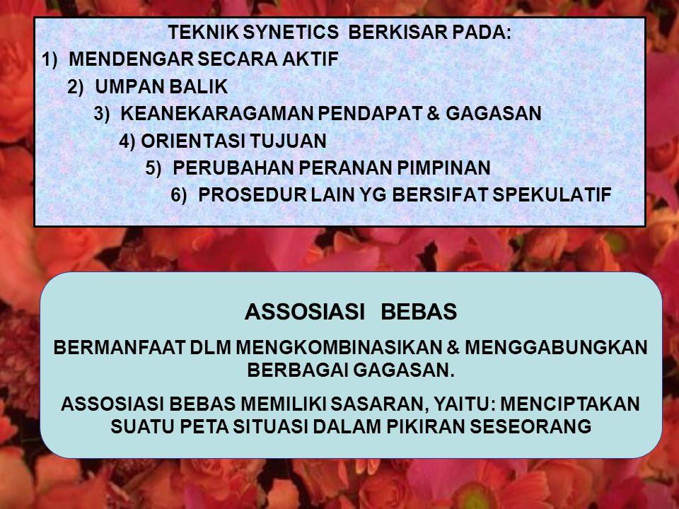 TEKNIK SYNETICS BERKISAR PADA: 1) MENDENGAR SECARA AKTIF 2) UMPAN BALIK 3) KEANEKARAGAMAN PENDAPAT & GAGASAN 4) ORIENTASI TUJUAN 5) PERUBAHAN PERANAN