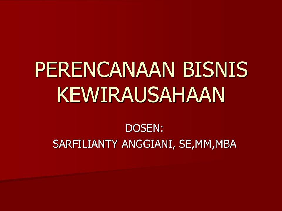 PERENCANAAN BISNIS KEWIRAUSAHAAN DOSEN: SARFILIANTY ANGGIANI, SE,MM,MBA