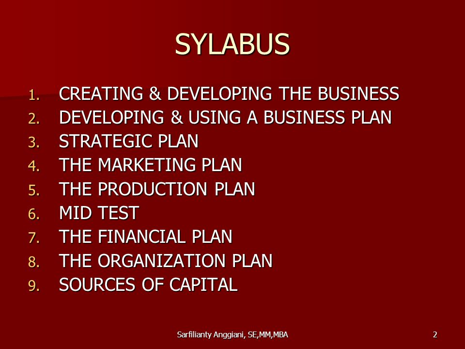 Sarfilianty Anggiani, SE,MM,MBA2 SYLABUS 1. CREATING & DEVELOPING THE BUSINESS 2. DEVELOPING & USING A BUSINESS PLAN 3. STRATEGIC PLAN 4. THE MARKETIN