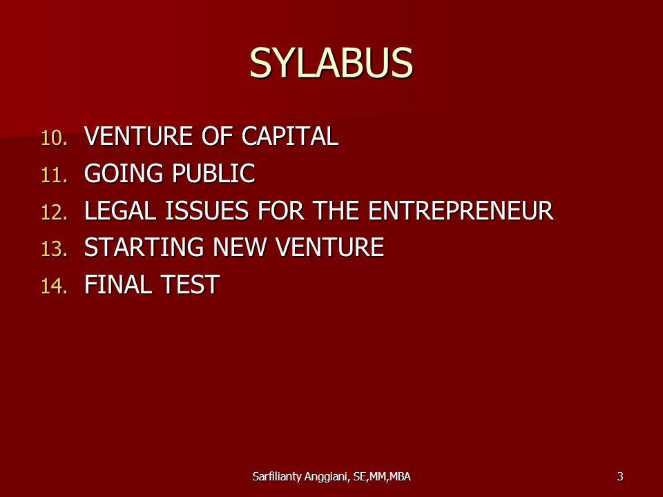 Sarfilianty Anggiani, SE,MM,MBA3 SYLABUS 10.VENTURE OF CAPITAL 11.