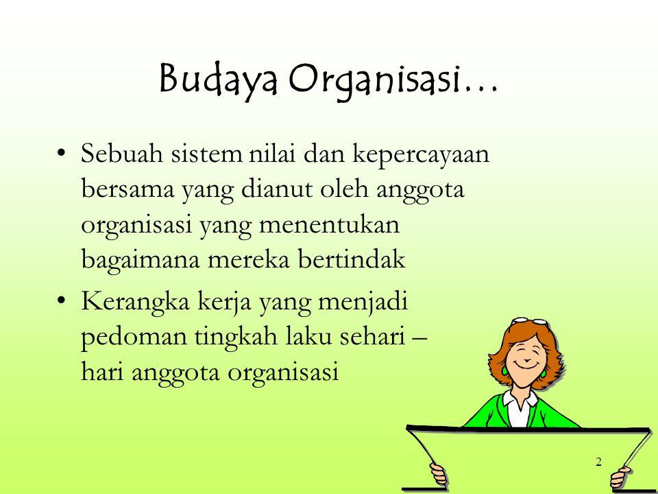 2 Budaya Organisasi… Sebuah sistem nilai dan kepercayaan bersama yang dianut oleh anggota organisasi yang menentukan bagaimana mereka bertindak Kerangka kerja yang menjadi pedoman tingkah laku sehari – hari anggota organisasi