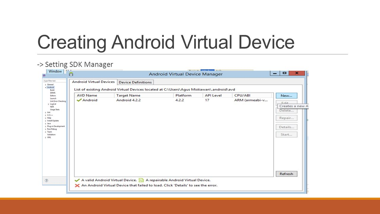 Creating Android Virtual Device -> Setting SDK Manager