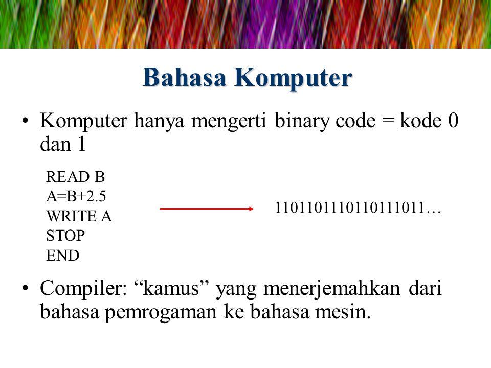 """Bahasa Komputer Komputer hanya mengerti binary code = kode 0 dan 1 Compiler: """"kamus"""" yang menerjemahkan dari bahasa pemrogaman ke bahasa mesin. READ B"""