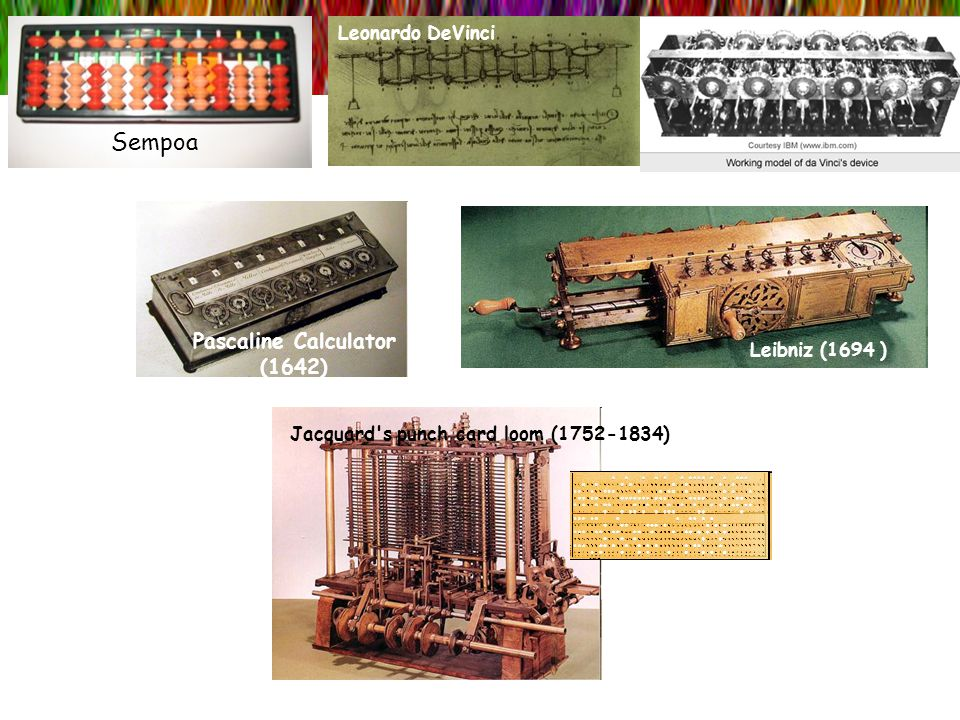 Sempoa Pascaline Calculator (1642) Leonardo DeVinci Leibniz (1694 ) Jacquard's punch card loom (1752-1834)