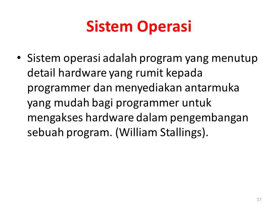 Sistem Operasi Sistem operasi adalah program yang menutup detail hardware yang rumit kepada programmer dan menyediakan antarmuka yang mudah bagi programmer untuk mengakses hardware dalam pengembangan sebuah program.