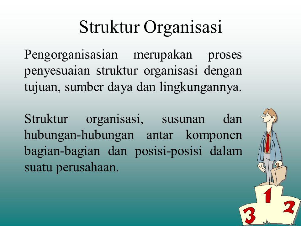 Departementalisasi –Dasar yang digunakan untuk mengelompokkan sejumlah pekerjaan menjadi satu kelompok. –Pengelompokkan kegiatan kerja suatu organisas