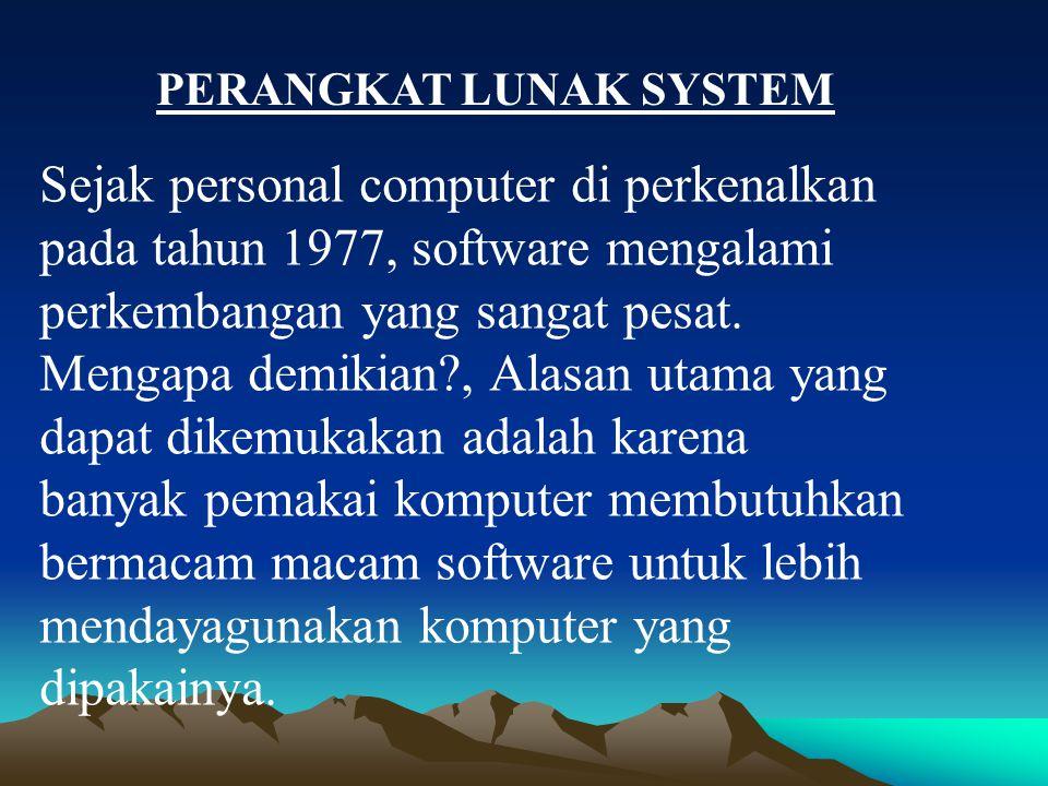Sejak personal computer di perkenalkan pada tahun 1977, software mengalami perkembangan yang sangat pesat. Mengapa demikian?, Alasan utama yang dapat