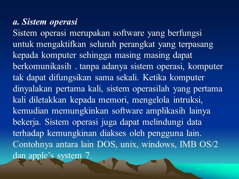 a. Sistem operasi Sistem operasi merupakan software yang berfungsi untuk mengaktifkan seluruh perangkat yang terpasang kepada komputer sehingga masing