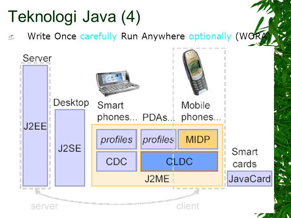 Teknologi Java (4) carefullyoptionally  Write Once carefully Run Anywhere optionally (WORA)
