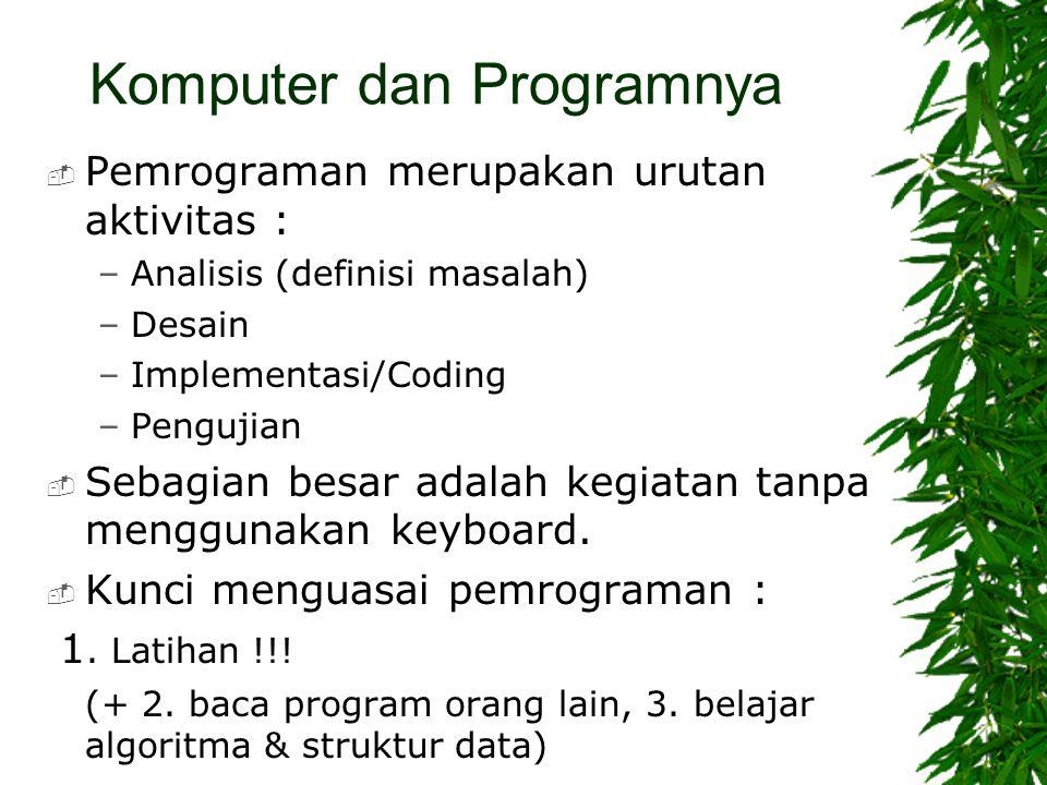 Komputer dan Programnya  Pemrograman merupakan urutan aktivitas : –Analisis (definisi masalah) –Desain –Implementasi/Coding –Pengujian  Sebagian bes