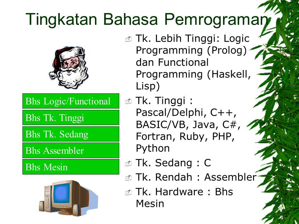 Tingkatan Bahasa Pemrograman  Tk. Lebih Tinggi: Logic Programming (Prolog) dan Functional Programming (Haskell, Lisp)  Tk. Tinggi : Pascal/Delphi, C