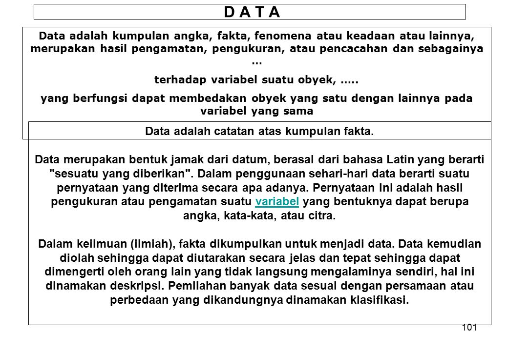 100 ROLE OF THE COMPUTER DATA CautionsAvailability Format Sampling Reanalysis Data banks Format Exchange Magnetic Punched card Paper tape Machine read