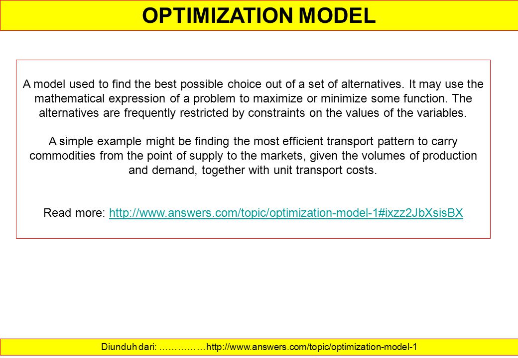 OPTIMIZATION MODEL OPTIMIZATION MeaningsIndirect Minimization Simulation Objective function Maximization Linear Experimentation Constraints Solution E