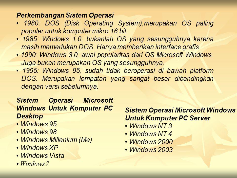 Perkembangan Sistem Operasi 1980: DOS (Disk Operating System),merupakan OS paling populer untuk komputer mikro 16 bit. 1985: Windows 1.0, bukanlah OS