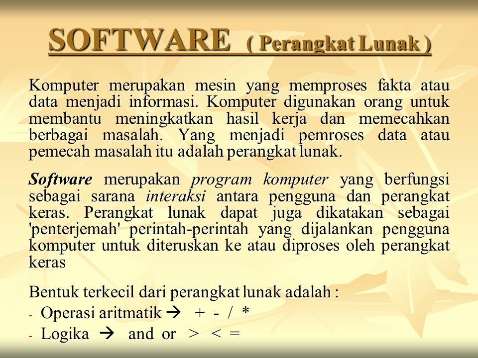SOFTWARE ( Perangkat Lunak ) Komputer merupakan mesin yang memproses fakta atau data menjadi informasi. Komputer digunakan orang untuk membantu mening