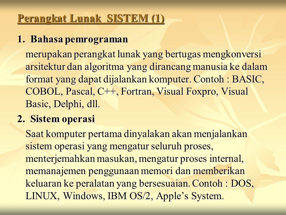 Perangkat Lunak SISTEM (1) 1. Bahasa pemrograman merupakan perangkat lunak yang bertugas mengkonversi arsitektur dan algoritma yang dirancang manusia
